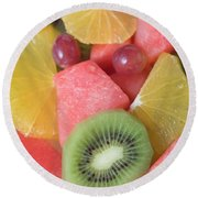 Colourful Fruit Salad (full-frame) Round Beach Towel