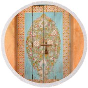 Colourful Moroccan Entrance Door Sale Rabat Morocco Round Beach Towel