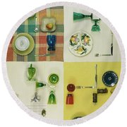 Colourful Table Settings Round Beach Towel