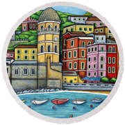 Colours Of Vernazza Round Beach Towel