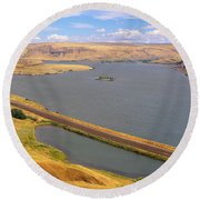 Columbia River In Oregon, Viewed Round Beach Towel