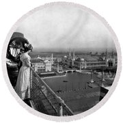 Columbian Exposition, Searchlight, 1893 Round Beach Towel