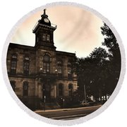 Round Beach Towel featuring the photograph Columbiana County Courthouse by Michelle Joseph-Long