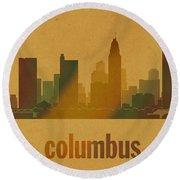 Columbus Ohio City Skyline Watercolor On Parchment Round Beach Towel