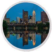 Columbus Ohio Night Skyline Photo Round Beach Towel