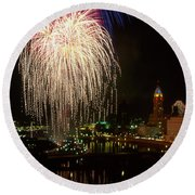Columbus Red White And Boom Round Beach Towel