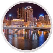 Columbus Skyline At Night Color Panorama Ohio Round Beach Towel