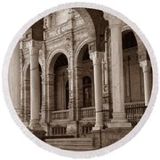 Columns And Arches Round Beach Towel