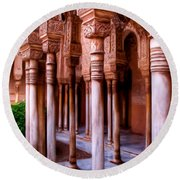 Columns Of The Court Of The Lions - Painting Round Beach Towel