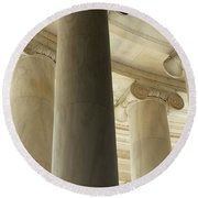Columns Stand Guard Round Beach Towel