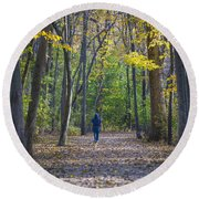 Round Beach Towel featuring the photograph Come For A Walk by Sebastian Musial