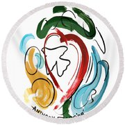 Round Beach Towel featuring the painting Come Into My Heart by Anthony Falbo