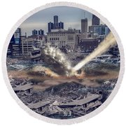 Round Beach Towel featuring the photograph Comerica Park Asteroid by Nicholas  Grunas