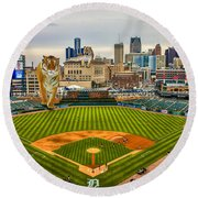 Round Beach Towel featuring the photograph Comerica Park Detroit Mi With The Tigers by Nicholas  Grunas
