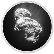 Round Beach Towel featuring the photograph Comet 67pchuryumov-gerasimenko by Science Source