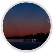 Comet Panstarrs And Crescent Moon Round Beach Towel by Charles Hite