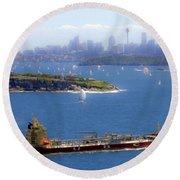 Round Beach Towel featuring the photograph Coming In by Miroslava Jurcik