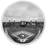Comiskey Park Night Game - Black And White Round Beach Towel