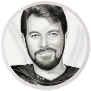Commander William Riker Star Trek Round Beach Towel by Olga Shvartsur