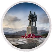 Commando Memorial At Spean Bridge Round Beach Towel by Gary Eason