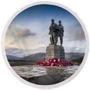 Commando Memorial At Spean Bridge Round Beach Towel