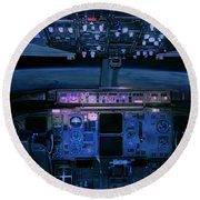 Commercial Airplane Cockpit By Night Round Beach Towel