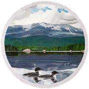 Common Loon On Togue Pond By Mount Katahdin Round Beach Towel