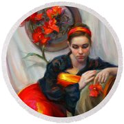 Common Threads - Divine Feminine In Silk Red Dress Round Beach Towel by Talya Johnson