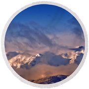 Comox Glacier And Morning Mist Round Beach Towel