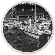 Company Arrives At The Cabin By Boat Round Beach Towel