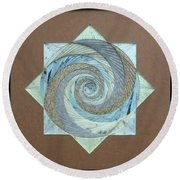Round Beach Towel featuring the mixed media Compass Headings by Ron Davidson