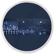 Competing Lights Round Beach Towel