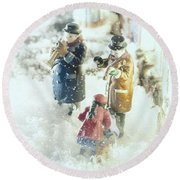 Round Beach Towel featuring the photograph Concert In The Snow by Caitlyn  Grasso
