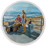 Concert In The Sun To An Audience Of One Round Beach Towel