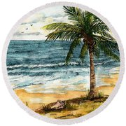Conch Shell In The Shade Round Beach Towel
