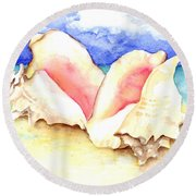 Conch Shells On Beach Round Beach Towel