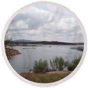 Round Beach Towel featuring the photograph Conchas Dam by Sheri Keith