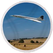 Concorde At Harvest Time Round Beach Towel
