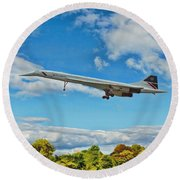 Round Beach Towel featuring the digital art Concorde On Finals by Paul Gulliver