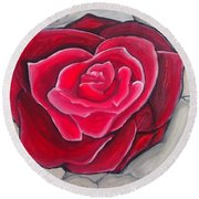 Round Beach Towel featuring the painting Concrete Rose by Marisela Mungia