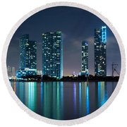 Condominium Buildings In Miami Round Beach Towel by Carsten Reisinger
