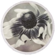 Coneflower In Monochrome Round Beach Towel