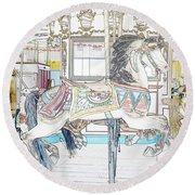 Coney Island Carousel Round Beach Towel by Lilliana Mendez