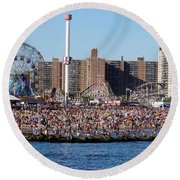 Round Beach Towel featuring the photograph Coney Island by Ed Weidman