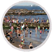 Round Beach Towel featuring the photograph Coney Island Rocks by Ed Weidman