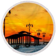 Coney Island Winter Sunset Round Beach Towel