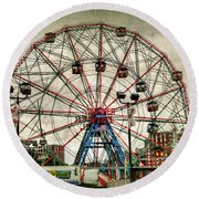 Coney Island Wonder Wheel  Round Beach Towel by Debra Forand