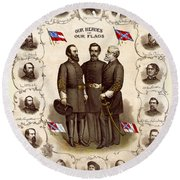 Confederate Generals And Flags Round Beach Towel