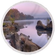 Congaree River At Dawn-1 Round Beach Towel