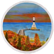 Fall, Conneaut Ohio Light House Round Beach Towel